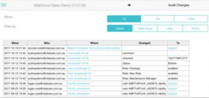 Vitalcloud Audit Screen